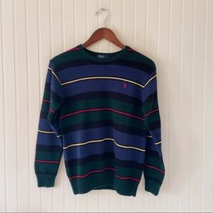Vintage Polo by Ralph Lauren Boys Knit Cotton Sweater Green Blue Size Large